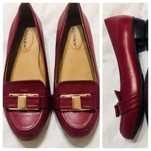 Comfortview Wine Loafers with Gold Hardware